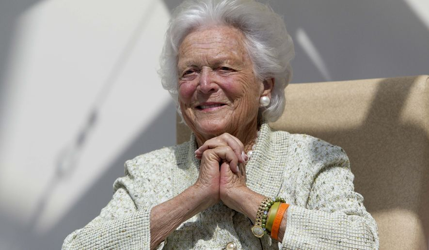 """FILE - In a Thursday, Aug. 22, 2013, file photo, former first lady Barbara Bush listens to a patient's question during a visit to the Barbara Bush Children's Hospital at Maine Medical Center in Portland, Maine. A family spokesman said Sunday, April 15, 2018, that the former first lady Barbara Bush is in """"failing health"""" and won't seek additional medical treatment. (AP Photo/Robert F. Bukaty, File)"""