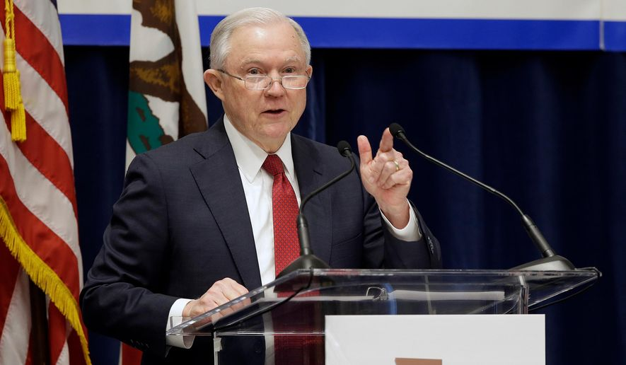 In this March 7, 2018, file photo, U.S. Attorney General Jeff Sessions addresses the California Peace Officers' Association at the 26th Annual Law Enforcement Legislative Day in Sacramento, Calif. (AP Photo/Rich Pedroncelli, File)