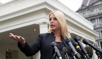 In this Thursday, Feb. 22, 2018 file photo, Florida Attorney General Pam Bondi speaks to reporters outside the West Wing of the White House. (AP Photo/J. Scott Applewhite) **FILE**