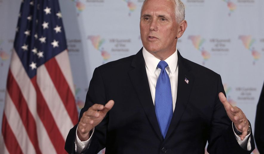 U.S. Vice President Mike Pence speaks during a press conference at the Summit of the Americas in Lima, Peru, Saturday, April 14, 2018. (AP Photo/Karel Navarro)