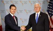 U.S. Vice President Mike Pence, right, shakes hands with Mexico's President Enrique Pena Nieto during a bilateral meeting at the Summit of the Americas in Lima, Peru, Saturday, April 14, 2018. (AP Photo/Karel Navarro) ** FILE **