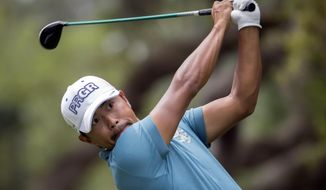 Satoshi Kodaira of Japan watches is drive off the 16th tee during the final round of the RBC Heritage golf tournament in Hilton Head Island, S.C., Sunday, April 15, 2018. (AP Photo/Stephen B. Morton)