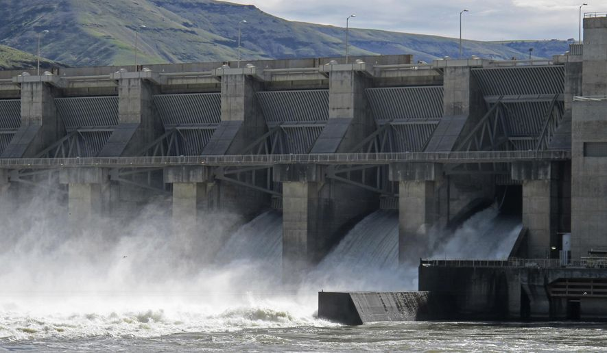 In this April 11, 2018 photo, water moves through a spillway of the Lower Granite Dam on the Snake River near Almota, Wash. Republican members of Congress from the Pacific Northwest are upset with a federal judge's order to spill water from the dam and three others on the Snake River in an attempt to help speed migrating salmon to the Pacific Ocean, saying the increased spill will result in lost power sales and could harm transportation, barging, flood control and irrigation systems. (AP Photo/Nicholas K. Geranios)