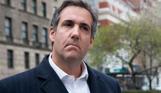 """This April 11, 2018, file photo shows attorney Michael Cohen in New York. President Donald Trump said Sunday, April 15, 2018, that all lawyers are now """"deflated and concerned"""" by the FBI raid on his personal attorney Cohen's home and office. (AP Photo/Mary Altaffer, File)"""
