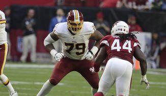 Washington Redskins tackle Ty Nsekhe (79) during an NFL football game against the Arizona Cardinals, Sunday, Dec. 4, 2016, in Glendale, Ariz. (AP Photo/Rick Scuteri) **FILE**