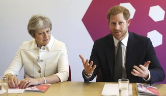 Britain's Prince Harry, right and Prime Minister Theresa May attend a Commonwealth Heads of Government Meeting Youth Forum in London, Monday,  April 16, 2018. (Simon Dawson/Pool Photo via AP)