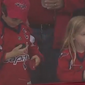 Young hockey fans watch Washington Capitals forward Brett Connolly toss pucks over the glass during pregame warmups before their Game 2 against the Columbus Blue Jackets on Sunday, April 15 at Capital One Arena in Washington, D.C. (Video screenshot via Twitter / @NHL)