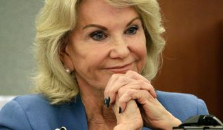 FILE - In this March 28, 2018, file photo, Elaine Wynn, ex-wife of Steve Wynn, listens during a hearing in Las Vegas. A six-year boardroom battle involving the company founded by embattled former Las Vegas casino mogul Steve Wynn and his ex-wife has been settled on the brink of a trial in Nevada state court. A judge dismissed prospective jurors Monday, April 16, 2018, after attorneys told her the case had been dropped pending an undisclosed payment from Steve Wynn to Elaine Wynn. (AP Photo/John Locher)