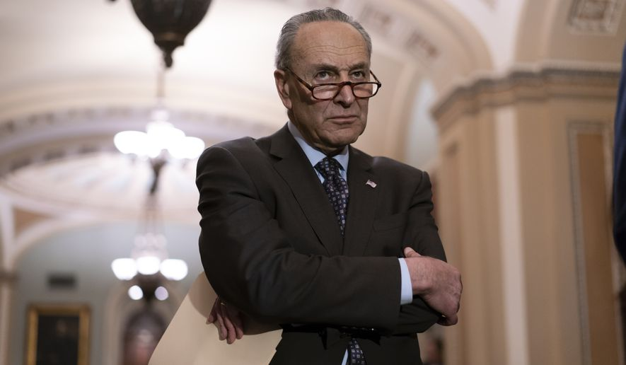 Senate Minority Leader Chuck Schumer, D-N.Y., pauses as he takes questions from reporters following a closed-door strategy session on Capitol Hill in Washington, Tuesday, April 17, 2018. (AP Photo/J. Scott Applewhite) **FILE**
