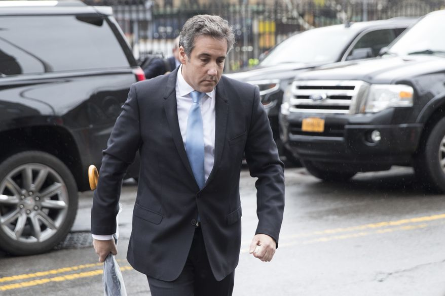 Michael Cohen, President Donald Trump's personal attorney arrives at federal court, Monday, April 16, 2018, in New York. (AP Photo/Mary Altaffer)