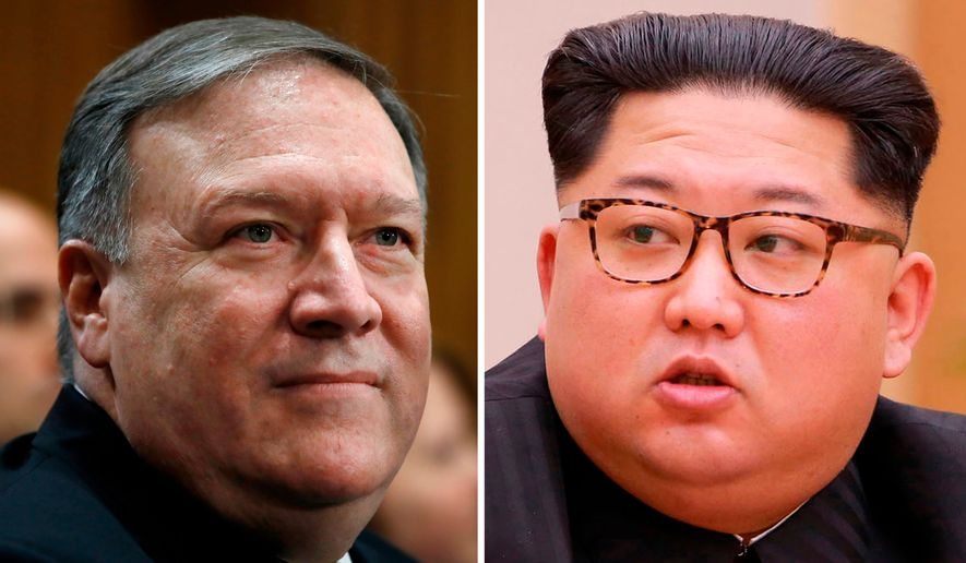 This combination of two file photos shows CIA Director Mike Pompeo, left, listens during his introductions before the Senate Foreign Relations Committee during a confirmation hearing on his nomination to be secretary of state on Capitol Hill in Washington on April 12, 2018, and  North Korean leader Kim Jong-un attends a meeting of the Political Bureau of the Central Committee of the Workers' Party of Korea, in Pyongyang, North Korea on April 9, 2018. Pompeo recently traveled to North Korea to meet with Kim, two U.S. officials said Tuesday, April 17, 2018. (AP Photo/Jacquelyn Martin)