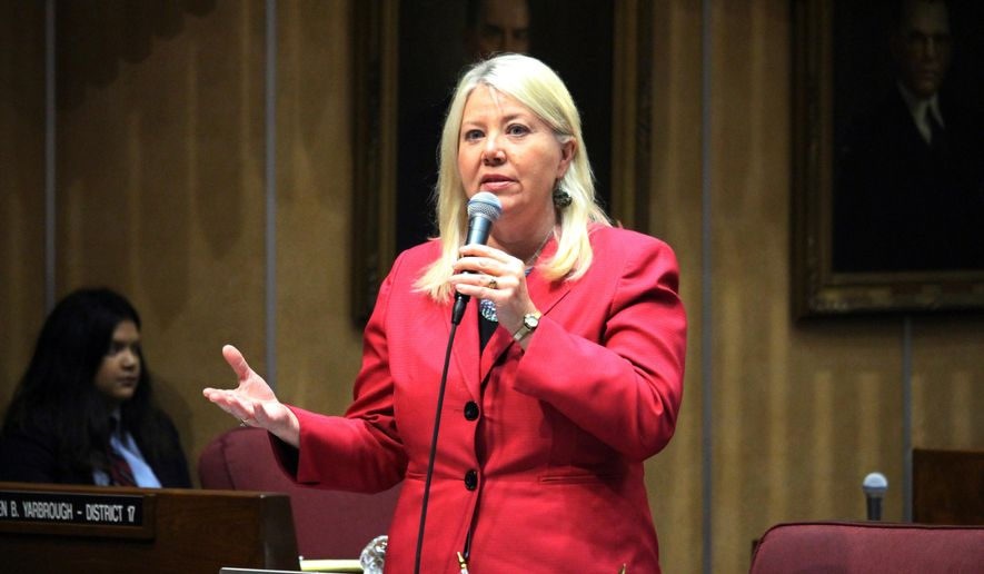 In this April 6, 2017, file photo, Arizona state Sen. Debbie Lesko speaks in the Senate chambers in Phoenix. The sprawling suburbs west of Phoenix may put a brake on Democratic optimism following surprising special election wins in places like Alabama, Pennsylvania and other GOP strongholds. (AP Photo/Bob Christie, File) **FILE**