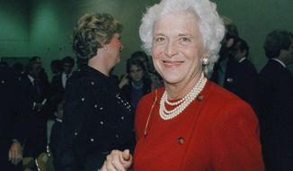 FILE - In this Oct. 11, 1984, file photo, Barbara Bush, wife of then-U.S. Vice-President George Bush, is photographed at the debate between Bush and Democrat Geraldine Ferraro. A family spokesman said Tuesday, April 17, 2018, that former first lady Barbara Bush has died at the age of 92. (AP Photo/File)