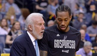 FILE - In this April 22, 2017, file photo, San Antonio Spurs head coach Gregg Popovich, left, talks with San Antonio Spurs forward Kawhi Leonard during the second half of Game 4 in an NBA basketball first-round playoff series against the Memphis Grizzlies, in Memphis, Tenn. (AP Photo/Brandon Dill, File) **FILE**