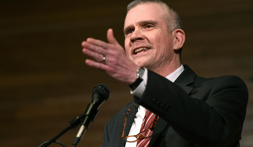FILE - In this March 22, 2018, file photo, Matt Rosendale, a candidate for the Republican nomination to the U.S. Senate, answers a question during a debate at Montana State University in Bozeman, Mont. Political committees bankrolled by a conservative mega-donor have spent more than $1.2 million supporting Rosendale. (Rachel Leathe/Bozeman Daily Chronicle via AP, File)