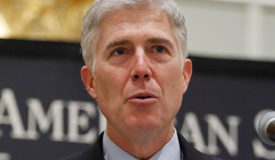 FILE - In this Sept. 28, 2017, file photo Supreme Court Justice Neil Gorsuch speaks in Washington. The Supreme Court said April 17, 2018, that part of a federal law that makes it easier to deport immigrants who have been convicted of crimes is too vague to be enforced. The court's 5-4 decision — an unusual alignment in which Gorsuch joined the four liberal justices — concerns a catchall provision of immigration law that defines what makes a crime violent. (AP Photo/Pablo Martinez Monsivais, File)