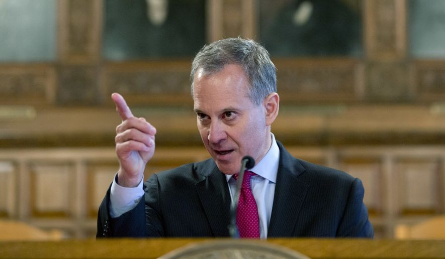 New York Attorney General Eric Schneiderman speaks during Law Day at the Court of Appeals, Monday, May 2, 2016, in Albany, N.Y. (AP Photo/Mike Groll)