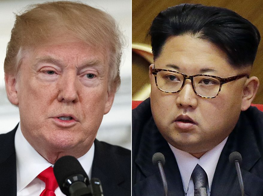 This combination of two file photos shows U.S. President Donald Trump, left, speaking in the State Dining Room of the White House, in Washington on Feb. 26, 2018, and North Korean leader Kim Jong-un attending in the party congress in Pyongyang, North Korea on May 9, 2016. (AP Photo/Evan Vucci, Wong Maye-E, File)