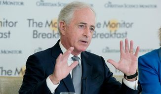 Sen. Bob Corker, Tennessee Republican, speaks at The Christian Science Monitor Breakfast on Wednesday, April 18, 2018. (Photo credit: Michael Bonfigli/The Christian Science Monitor)