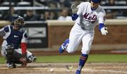 New York Mets Brandon Nimmo (9) gets fired up as he runs up the first base line after he was hit by a pitch to get on base during a baseball game Washington Nationals, Wednesday, April 18, 2018, in New York. (AP Photo/Kathy Willens)