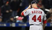 Washington Nationals relief pitcher Ryan Madson leaves the field after allowing a two-run double to New York Mets' Juan Lagares in the eighth inning of a baseball game, Wednesday, April 18, 2018, in New York. (AP Photo/Kathy Willens)