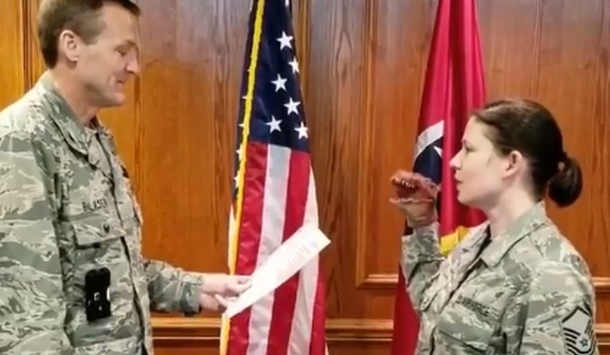 Video of Master Sgt. Robin Brown's April re-enlistment ceremony was viewed over 2.4 million times after it was posted on a popular Facebook page covering military issues. The Tennessee Air National Guard confirmed punishments for all the airmen involved. (Air Force)