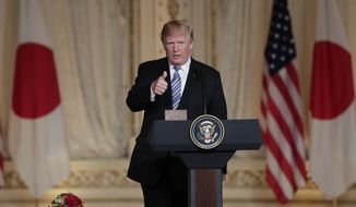 President Donald Trump speaks during a news conference with Japanese Prime Minister Shinzo Abe at Trump's private Mar-a-Lago club, Wednesday, April 18, 2018, in Palm Beach, Fla. (AP Photo/Lynne Sladky)