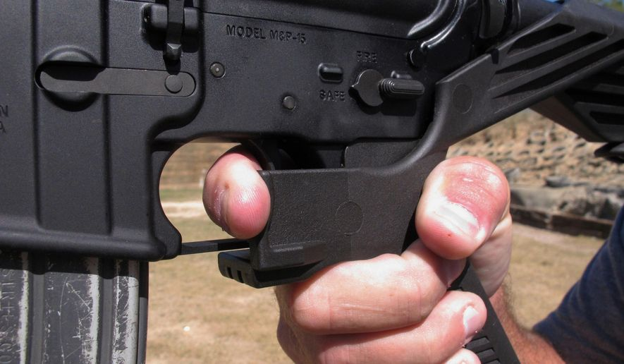 "Columbus, Ohio, argues that it has a right to ban bump stocks because they are an ""accessory"" to a firearm, not a ""part"" of one, and that the city is trying to close a gap between federal and state law with new penalties for domestic abusers caught with guns. (Associated Press/File)"