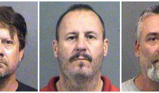 FILE - This combination of Oct. 14, 2016, file booking photos provided by the Sedgwick County Sheriff's Office in Wichita, Kan., shows from left, Patrick Stein, Curtis Allen and Gavin Wright, three members of a Kansas militia group who were charged with plotting to bomb an apartment building filled with Somali immigrants in Garden City, Kan. A federal jury on Wednesday, April 18, 2018, found the three men guilty. All were convicted of one count of conspiracy to use a weapon of mass destruction and one count of conspiracy against civil rights. Wright was convicted of a charge of lying to the FBI. Sentencing is set for June 27. (Sedgwick County Sheriff's Office via AP, File)