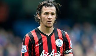 FILE - In this Sunday, May 10, 2015 file photo, Queens Park Rangers' Joey Barton watches the ball during their English Premier League soccer match at the Etihad Stadium, Manchester, England.Joey Barton will take up his first coaching job in June once his suspension for breaching betting rules has expired. The 35-year-old Barton has been hired as the new coach of third-tier team Fleetwood on a three-year deal, it was announced on Wednesday, April 18, 2018.  (AP Photo/Jon Super, file)
