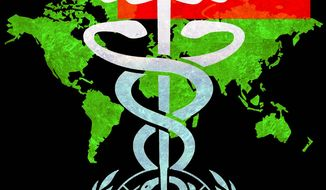Illustration on Taiwan's contributions to world health by Alexander Hunter/The Washington Times