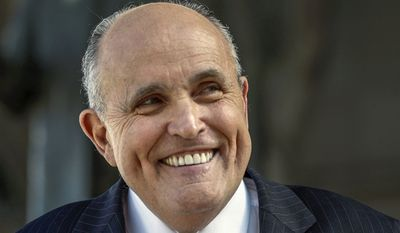 In this Thursday, Oct. 16, 2014, file photo, lawyer and former New York City Mayor Rudy Giuliani speaks at a press conference after appearing in court to call for the dismissal of a lawsuit filed against video game giant Activision by former Panamanian dictator Manuel Noriega outside Los Angeles Superior Court in Los Angeles. (AP Photo/Damian Dovarganes, File)