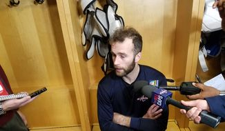 Washington Capitals forward Brett Connolly talks to reporters in Columbus, Ohio, before the Capitals' Game 4 against the Columbus Blue Jackets on Thursday, April 19, 2018. (Adam Zielonka/Washington Times)