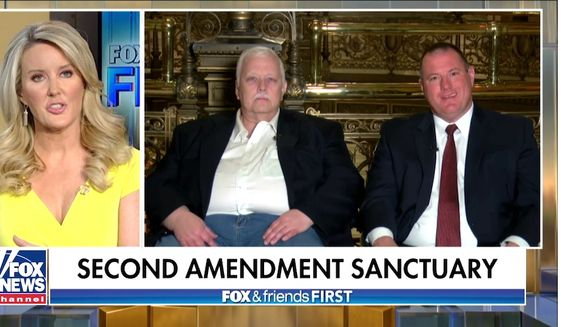 Effingham County State's Attorney Bryan Kibler (right) and board member David Campbell discuss their stand against Illinois gun control laws during a Fox News interview held April 19,2018. (Image: Fox News screenshot)