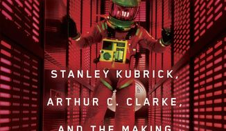 """This cover image released by Simon & Schuster shows """"Space Odyssey: Stanley Kubrick, Arthur C. Clarke, and the Making of a Masterpiece,"""" by Michael Benson. (Simon & Schuster via AP)"""