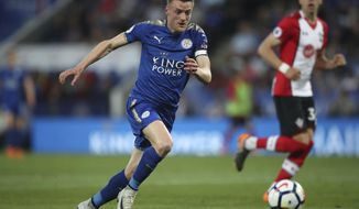 Leicester City's Jamie Vardy chases the ball during the English Premier League soccer match between Leicester and Southampton, at the King Power Stadium, in Leicester, England, Thursday April 19, 2018. (Nick Potts/PA via AP)
