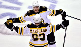 Boston Bruins left wing Brad Marchand (63) celebrates his goal against the Toronto Maple Leafs with teammate David Pastrnak (88) during the second period of Game 4 of an NHL hockey first-round playoff series Thursday, April 19, 2018, in Toronto. (Frank Gunn/The Canadian Press via AP)
