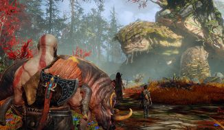 Kratos and his son live in the magical realm of Midgard in the third-person video game adventure God of War. (Courtesy of Sony Computer Entertainment).