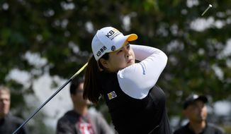 Inbee Park, of South Korea, tees off on the fifth hole during the HUGEL-JTBC LA Open golf tournament at Wilshire Country Club, Thursday, April 19, 2018, in Los Angeles. (AP Photo/Mark J. Terrill)