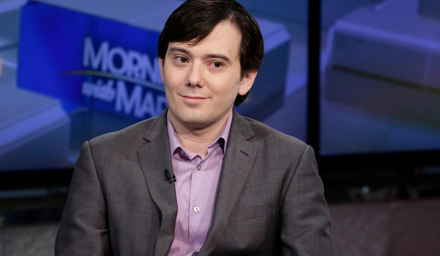 "FILE - In this Aug. 15, 2017, file photo, Martin Shkreli is interviewed by Maria Bartiromo during her ""Mornings with Maria Bartiromo"" program on the Fox Business Network, in New York. The pharmaceutical-industry entrepreneur vilified for jacking up the price of a lifesaving drug has been placed in a low-security federal prison in New Jersey. Shkreli was moved Tuesday, April 17, 2018, from the Brooklyn Metropolitan Detention Center in New York to the Federal Correctional Institution at Fort Dix. (AP Photo/Richard Drew, File)"