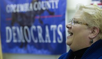 Wisconsin assembly candidate Ann Groves Lloyd speaks at an event at the offices of Columbus County Democratic Party Saturday, April 14, 2018, in Portage, Wis. (AP Photo/Morry Gash)