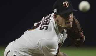 Minnesota Twins starting pitcher Jose Berrios throws in the fourth inning of the final game of a two-game Mayor League Series against the Cleveland Indians at the Hiram Bithorn Stadium in San Juan, Puerto Rico, Wednesday, April 18, 2018. (AP Photo/Carlos Giusti)