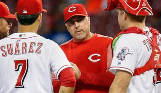 FILE - In this Aug. 23, 2017, file photo, Cincinnati Reds manager Bryan Price, center, waits on the mound after removing starting pitcher Asher Wojciechowski during the fourth inning of a baseball game against the Chicago Cubs, in Cincinnati. The Reds have fired Bryan Price after a 3-15 start, the first managerial change in the major leagues this season. Price was in his fifth season leading the rebuilding team. The Reds have lost at least 94 games in each of the last three seasons while finishing last in the NL Central. Bench coach Jim Riggleman will manage the team on an interim basis.(AP Photo/John Minchillo, File)