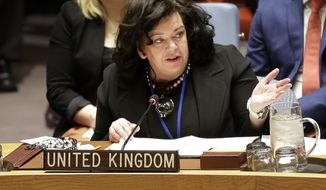 British Ambassador to the United Nations Karen Pierce speaks at U.N. headquarters, Thursday, April 19, 2018. (AP Photo/Seth Wenig)