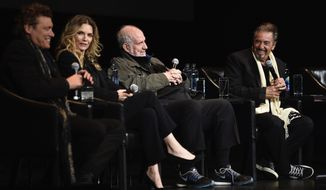 "From left to right, actor Steven Bauer, actress Michelle Pfeiffer, director Brian De Palma and actor Al Pacino attend a 35th anniversary screening ""Scarface"" at the Beacon Theatre during 2018 Tribeca Film Festival on Thursday, April 19, 2018, in New York. (Photo by Evan Agostini/Invision/AP)"