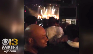 "Baltimore Police Commissioner Darryl De Sousa addresses concertgoers at a hip-hop show about ""200 years"" of abuses perpetrated by cops, April 18, 2018. (Image: CBS-13 Baltimore screenshot)"