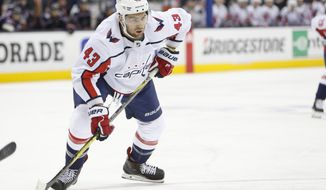 Washington Capitals' Tom Wilson plays against the Columbus Blue Jackets during Game 4 of an NHL first-round hockey playoff series Thursday, April 19, 2018, in Columbus, Ohio. (AP Photo/Jay LaPrete) ** FILE **