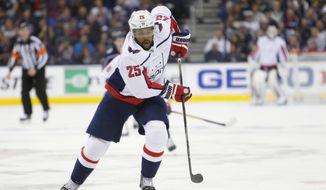 Washington Capitals' Devante Smith-Pelly plays against the Columbus Blue Jackets during Game 4 of an NHL first-round hockey playoff series Thursday, April 19, 2018, in Columbus, Ohio. (AP Photo/Jay LaPrete) ** FILE **