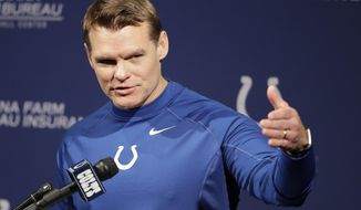 Indianapolis Colts general manager Chris Ballard speaks during a press conference at the NFL team's practice facility Friday, April 20, 2018, in Indianapolis. (AP Photo/Darron Cummings)