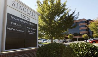 FILE - This Oct. 12, 2004 file photo shows Sinclair Broadcast Group, Inc.'s headquarters in Hunt Valley, Md. A Democratic candidate for Montana's U.S. House seat is buying ads on Sinclair Broadcast Group-owned television stations that blast Sinclair for forcing reporters to read conservative-leaning corporate statements on air. John Heenan's ad will air starting Monday on stations in Missoula, Bozeman and Butte. (AP Photo/ Steve Ruark, File)